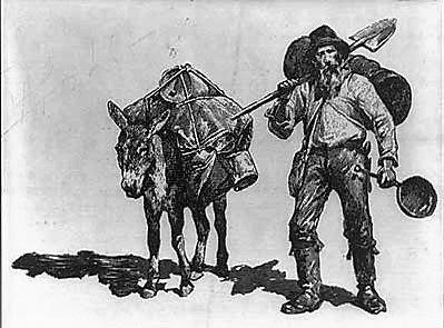 Mountainjack® logo---showing mountain-man & mule.