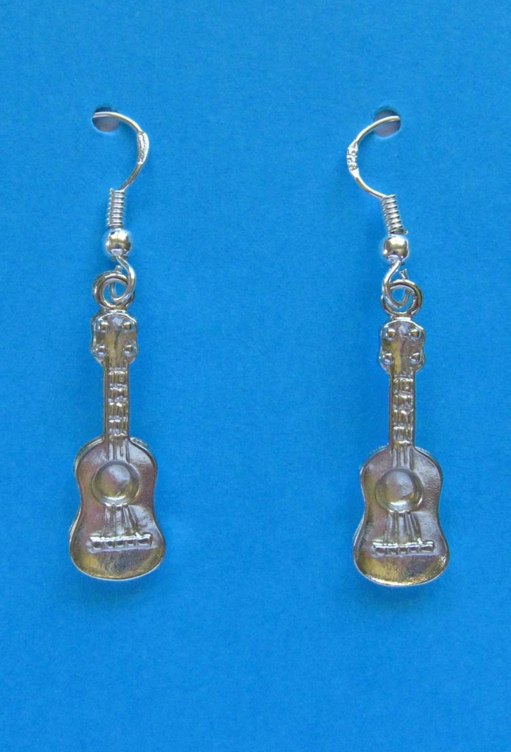 Silver Ukulele Earrings SE