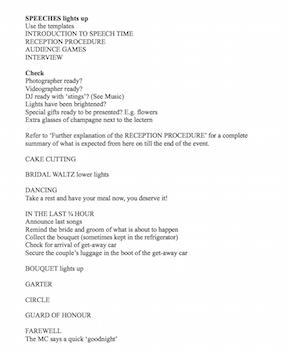 Wedding MCs Checklist part 2