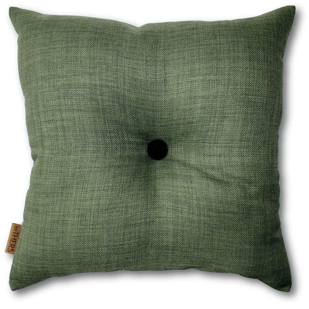 Mørk grøn pude med knap 1112