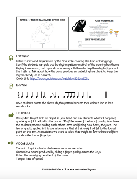 A Page of Listening, Rhythm, Technique, and Vocabulary from the Carnival of the Animals Music Camp Teacher Curriculum