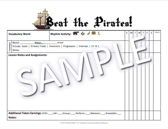 Beat the Pirates! Practice Incentive Theme Sample - Assignment Page