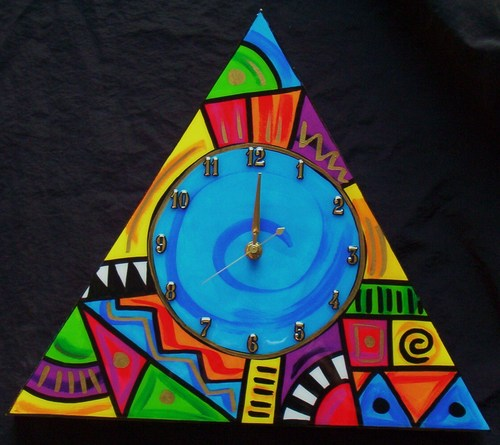 Abstract Triangle clock (Blue)