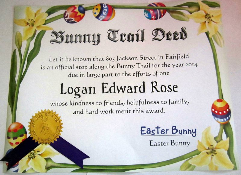 Easter Bunny Trail Deed Certificate elf1015