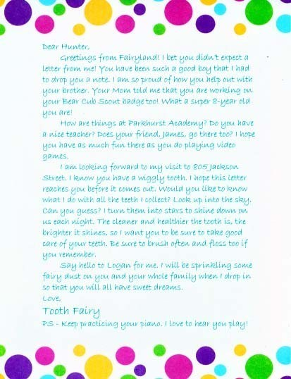Letter from the Tooth Fairy elf1048