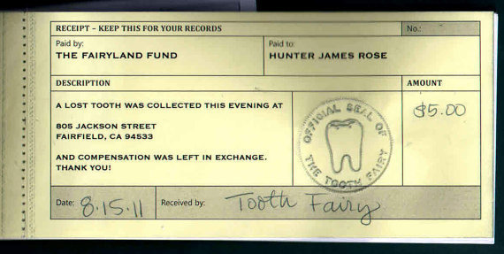 Tooth Fairy receipt yellow copy
