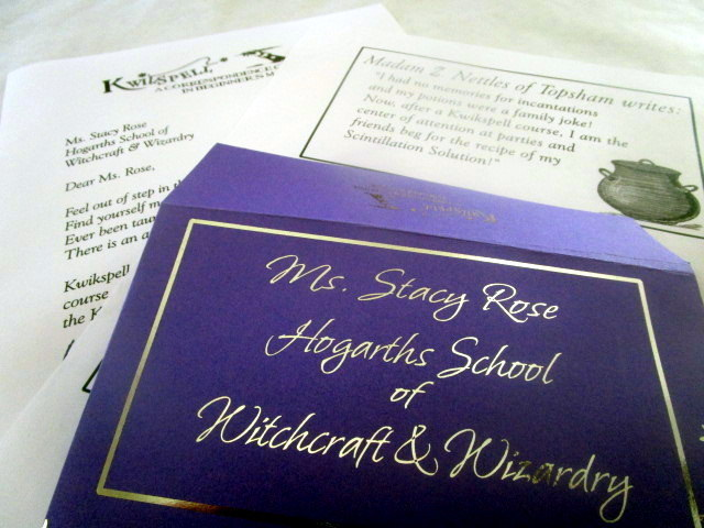 Wizarding Correspondence School Letter & Purple Envelope elf1045