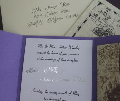 Wizarding Personalized Wedding Invitation elf1024