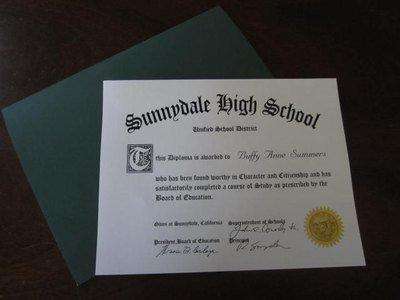 Buffy Sunnydale High School Diploma