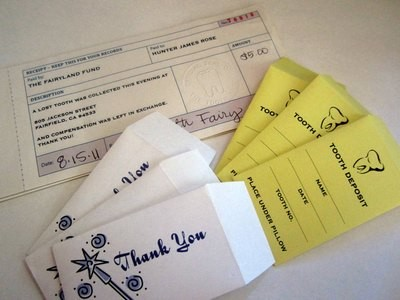 Tooth Fairy Receipts & Envelopes