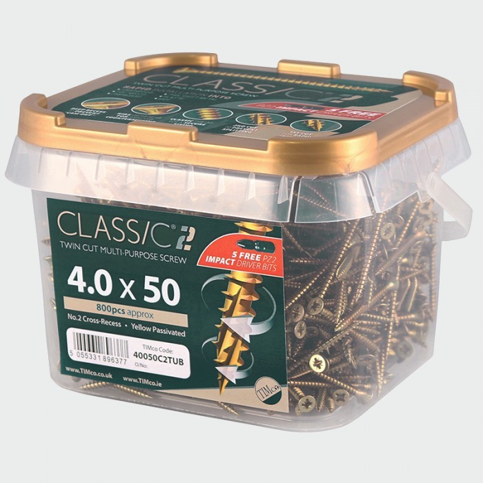 5.0mm x 40mm (Tub of 800 screws) Classic C2 Premium Pozi Countersunk Wood Screws. 901-C2TUB05040ZYP