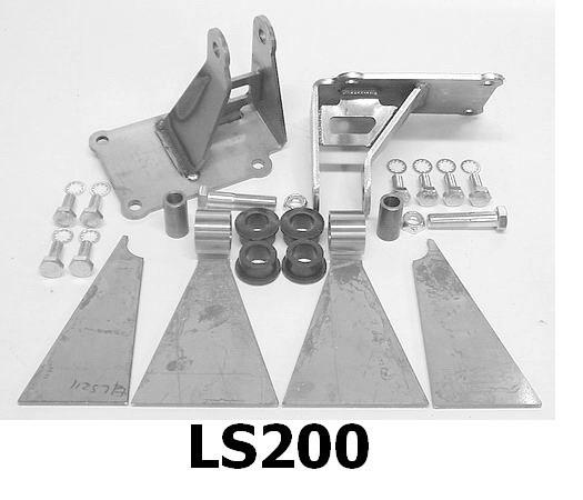 LS Engine Mount Kit, urethane bushed, trim to fit