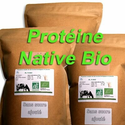 3 kg Protéine Lait Native Bio NATURE (origine du lait: France)