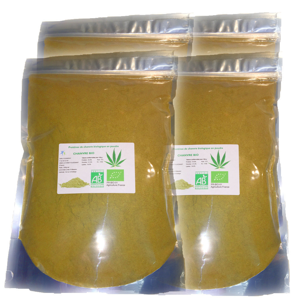Protéines de chanvre bio (Nature) en 4 x 1 kg 00316