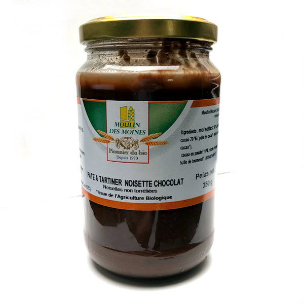 BIO: Pâte à tartiner aux noisettes (50%) et au chocolat: 350 g 00451