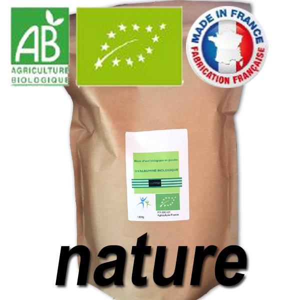 1200 g Code 0: Blanc d'oeuf bio en poudre (82% de protéines sans sucre) 00266