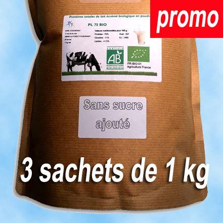 3 kg Protéine Lait Native Bio NATURE (origine du lait: France) 00272