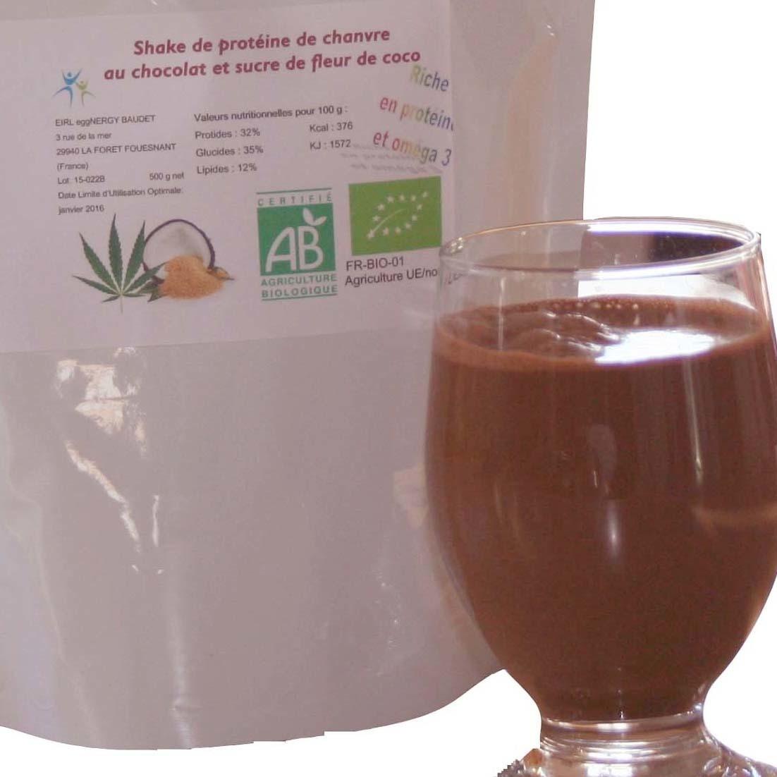 Chanvre: Protéine bio en poudre avec cacao et sucre de coco - 1 kg
