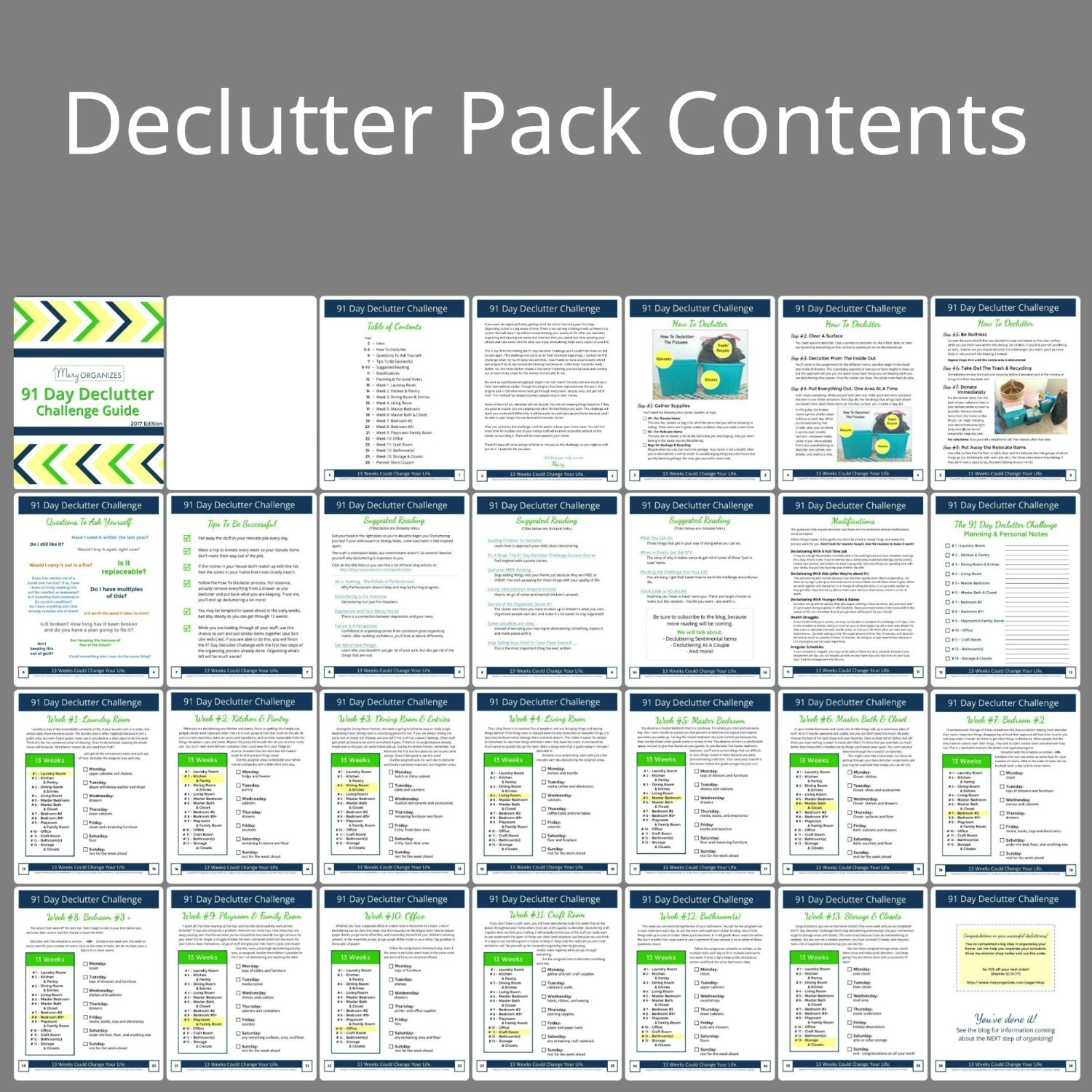 Can be printed 1-sided or 2-sided, black and white, or full color: Has all the supplemental pages needed for a successful 91 Day Declutter