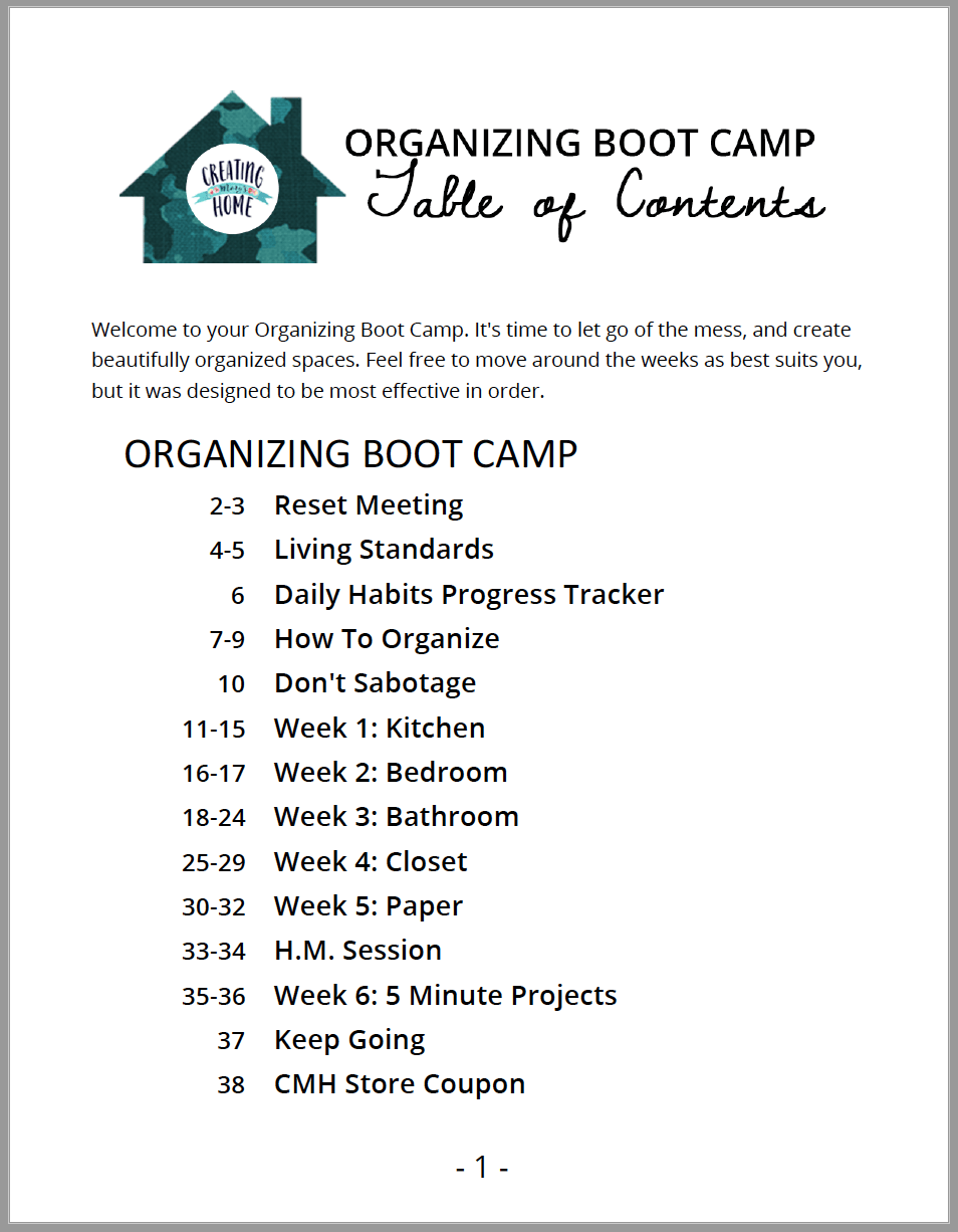 6 Week Organizing Boot Camp Challenge