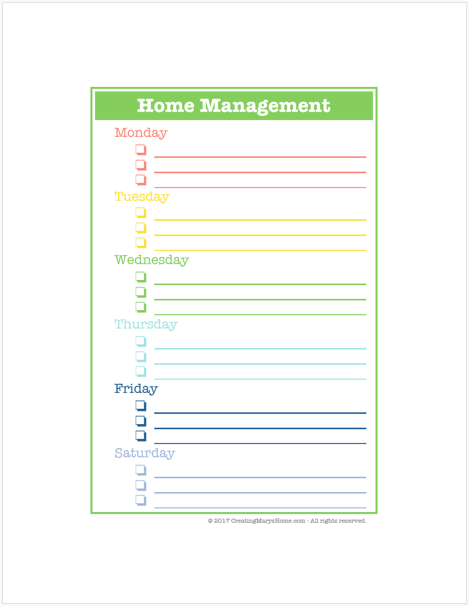Customizable Home Management Schedule included