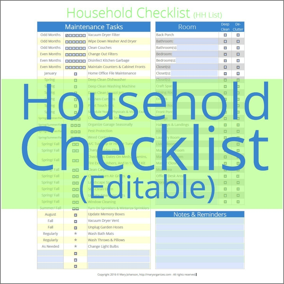 HH List - Household Management Checklist