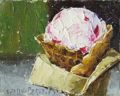 'Raspberry Goat Cheese Ice Cream' Painting