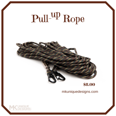 MK Unique Designs Pull-Up Rope Camo Hunting Hoist Your Bow & Gun Gear 30-Foot Long with Heavy Metal Clasps