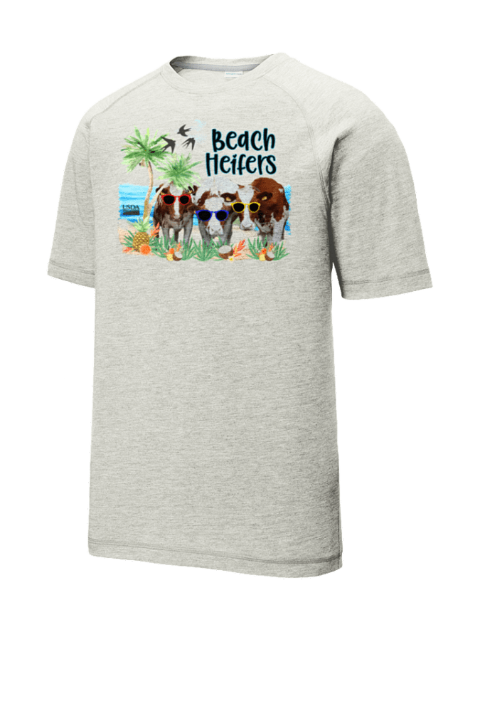 Beach Heifer Tri-Blend Wicking Raglan Tee