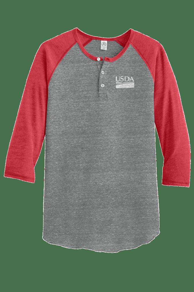 Unisex Alternative Eco-Jersey 3/4-Sleeve Raglan Henley
