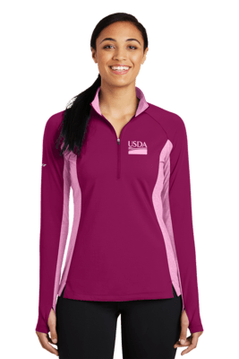 Ladies Sport Wick Stretch Contrast 1/2 Zip Pullover