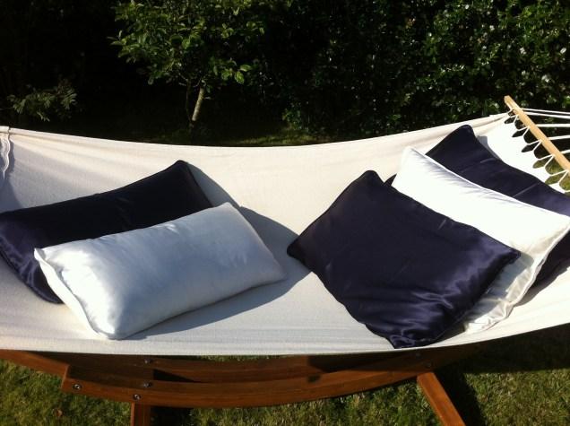 Single white silk pillowcase
