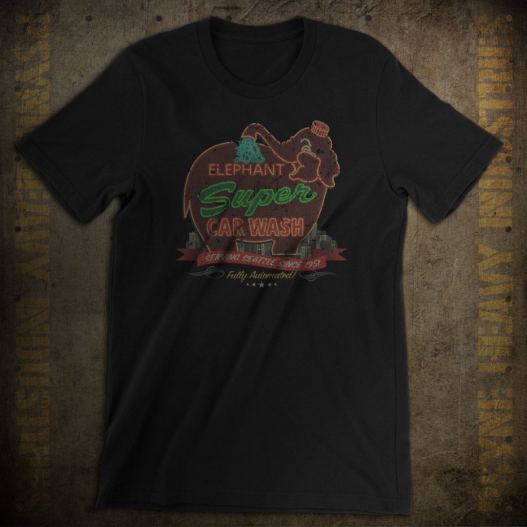 Elephant Super Car Wash Vintage T-Shirt