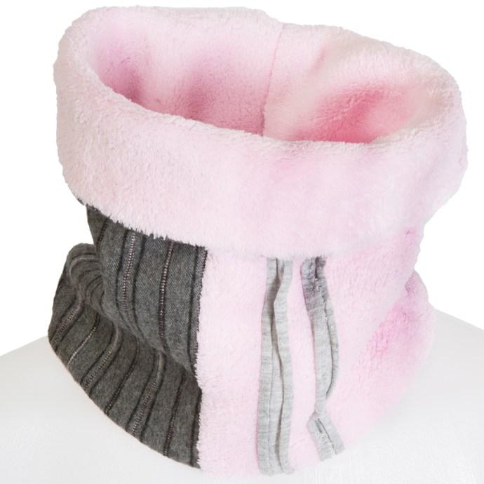 Snood fille polaire 2-5 ans rose et gris ligné SH17003-S