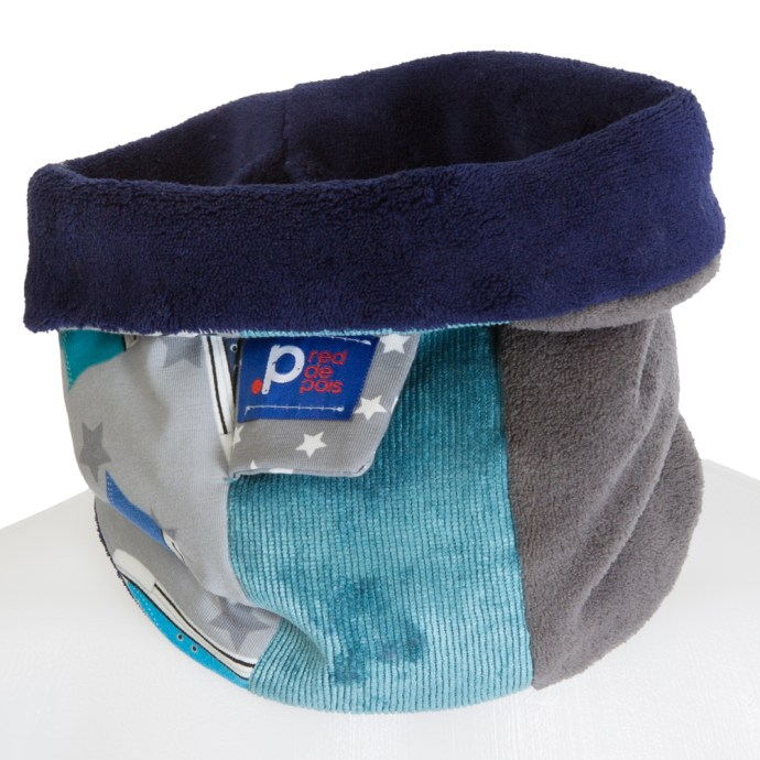 Echarpe snood garçon polaire bleu marine et gris SH17008-S