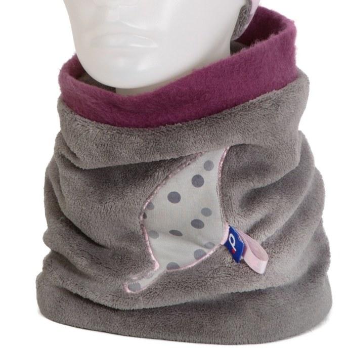 Snood pour fille 6-12 ans polaire appliqué feuille gris SH-17019-M