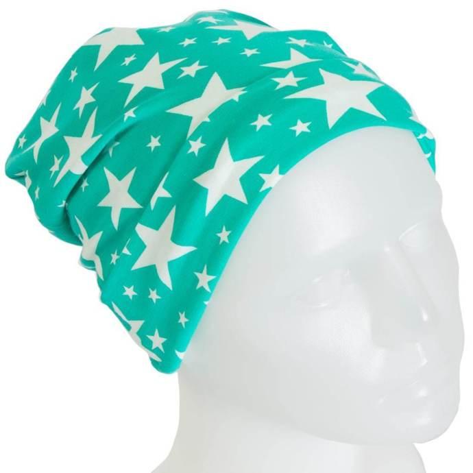 Bonnet jersey étoiles turquoise enfants 2-3 ans BP-17002-S