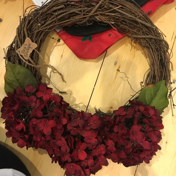 Grapevine Wreath Red Hydrangeas