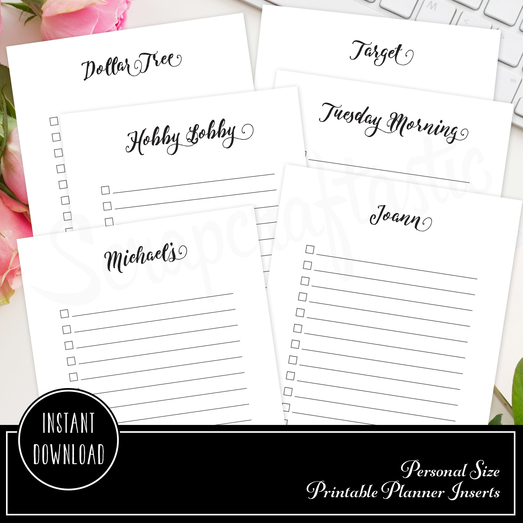 Shopping Check List Personal Size Printable Planner Inserts 00200