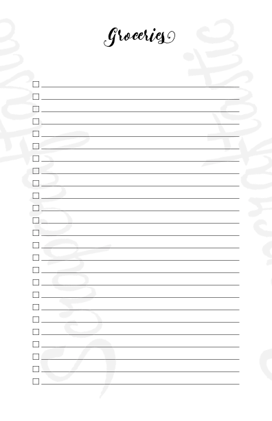 Shopping Check List Half Page/A5 Size Printable Planner Inserts