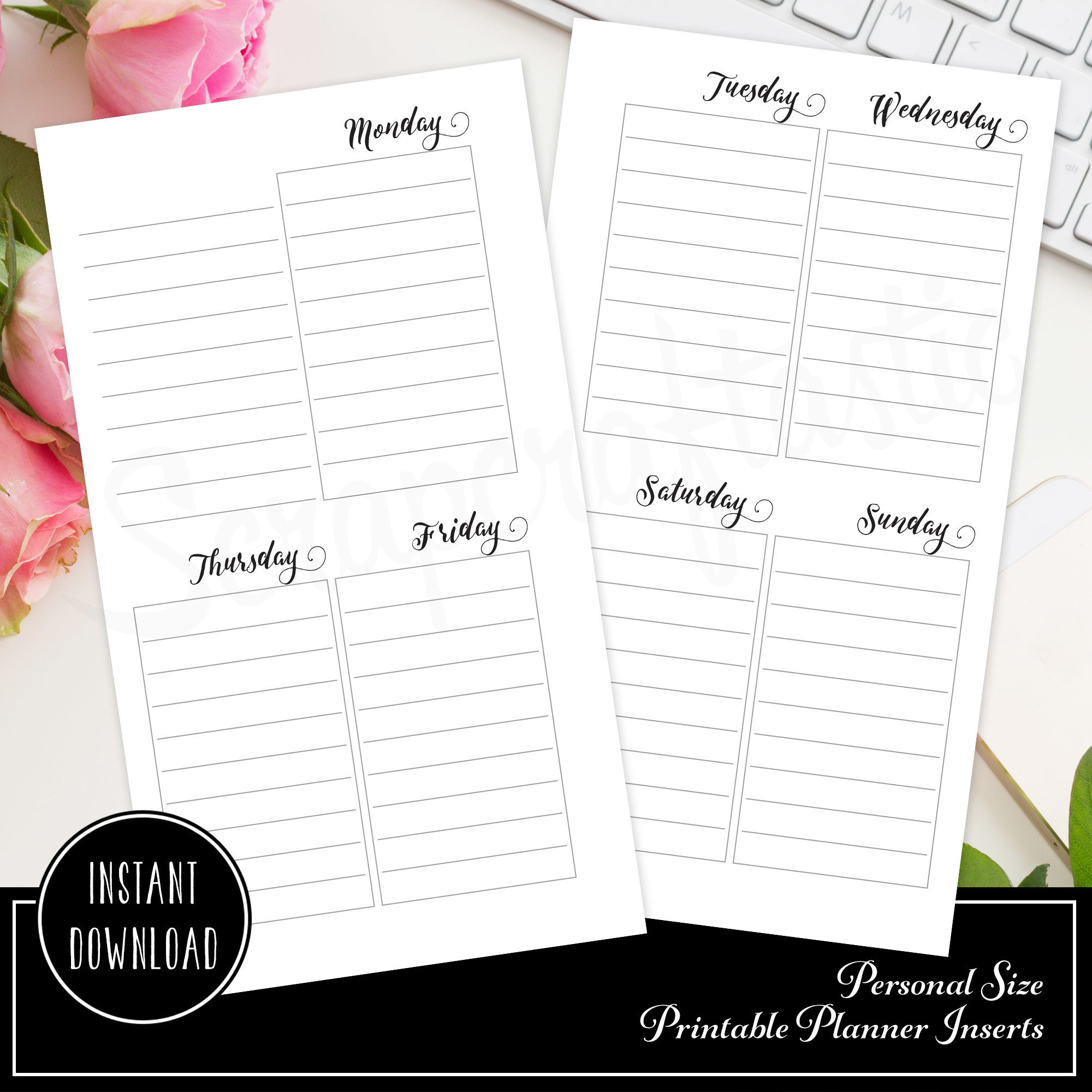 Oversized Lined Full Box Printable Planner Insert Refill Undated WO2P Personal Size - Horizontal Days 00223