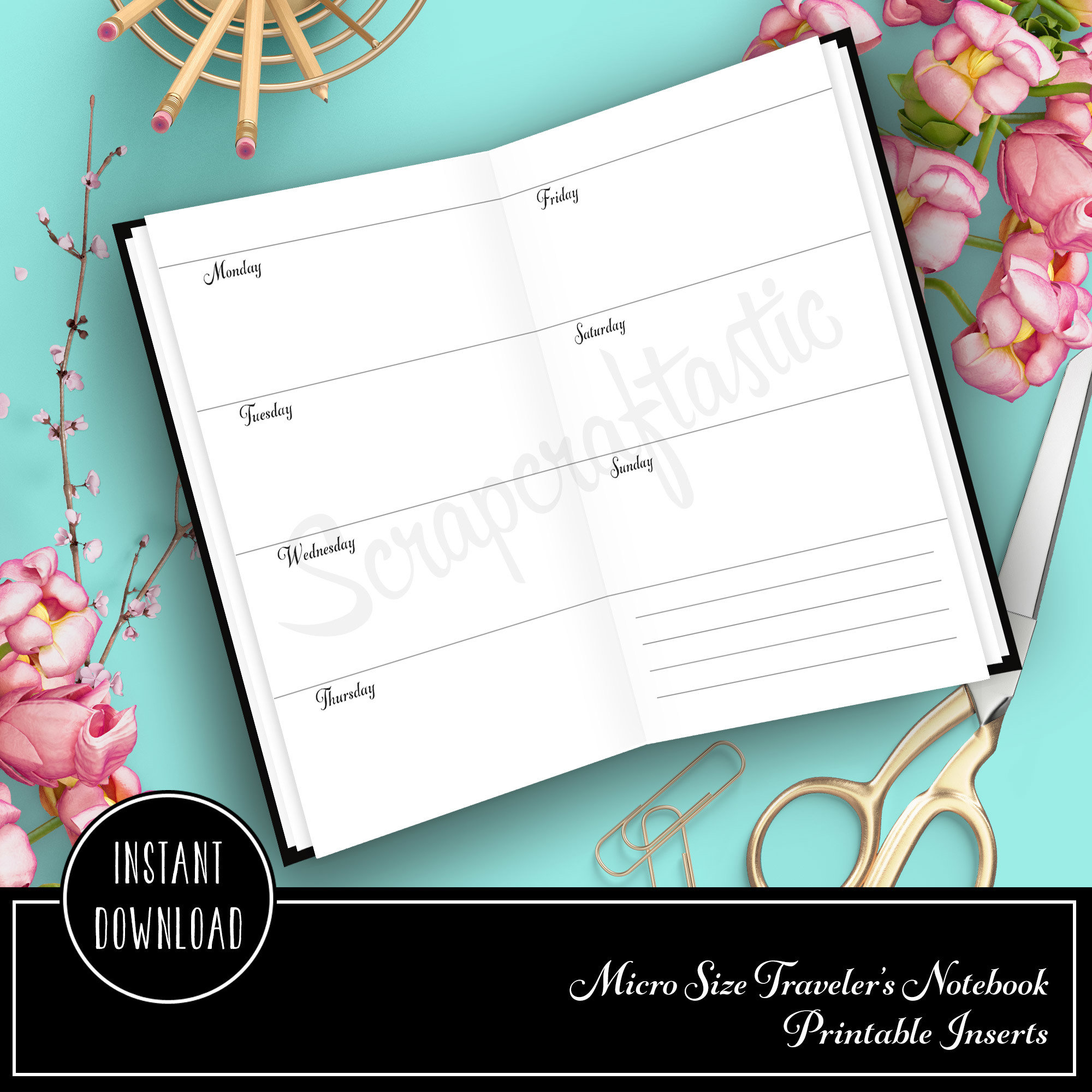 Horizontal Week on Two Pages (WO2P) Micro Printable Planner  Insert Refill 20004
