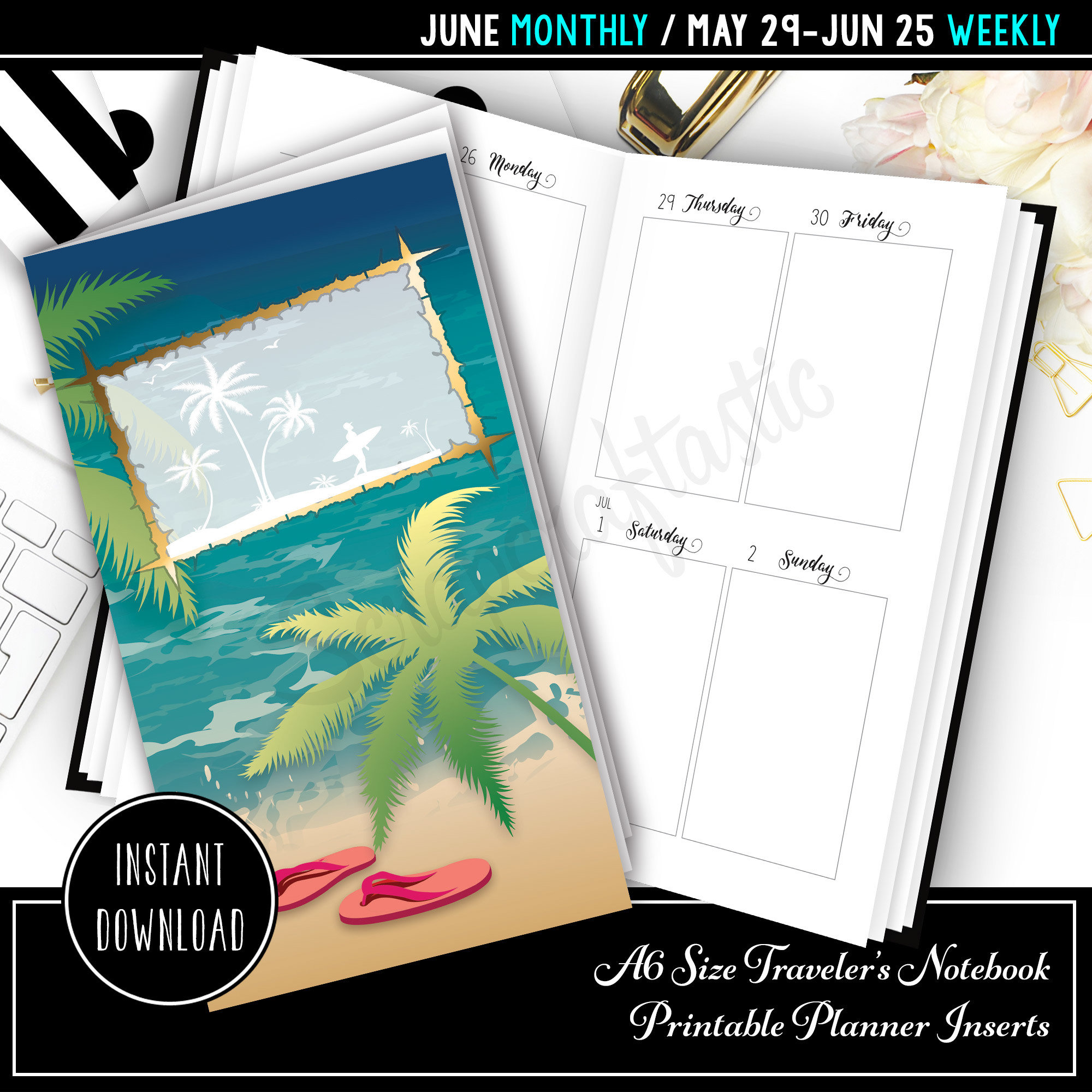 June 2017 A6 Traveler's Notebook Printable Planner Inserts 30006