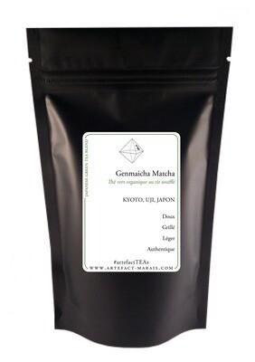 Genmaicha Matcha Blend BIO [Thé vert du Japon au riz soufflé enrobé de matcha] : Paquet de 100g