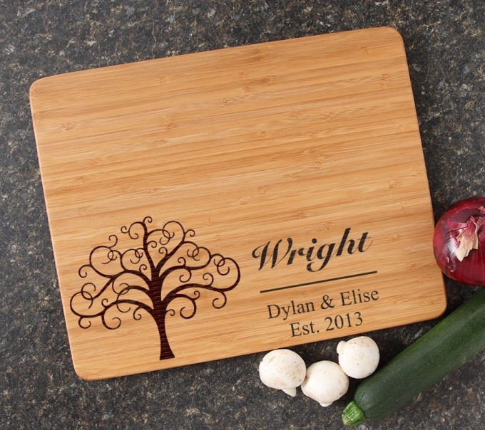 Engraved Bamboo Cutting Board Personalized 15x12 DESIGN 18 CBB-018
