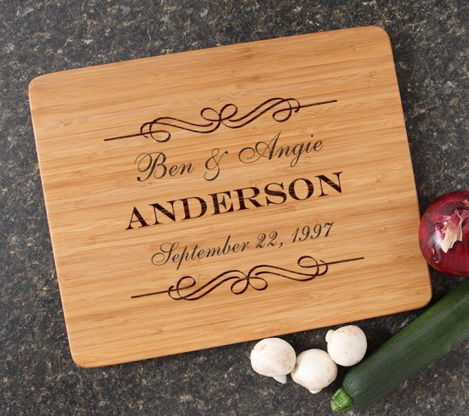 Engraved Bamboo Cutting Board Personalized 15x12 DESIGN 9 CBB-009