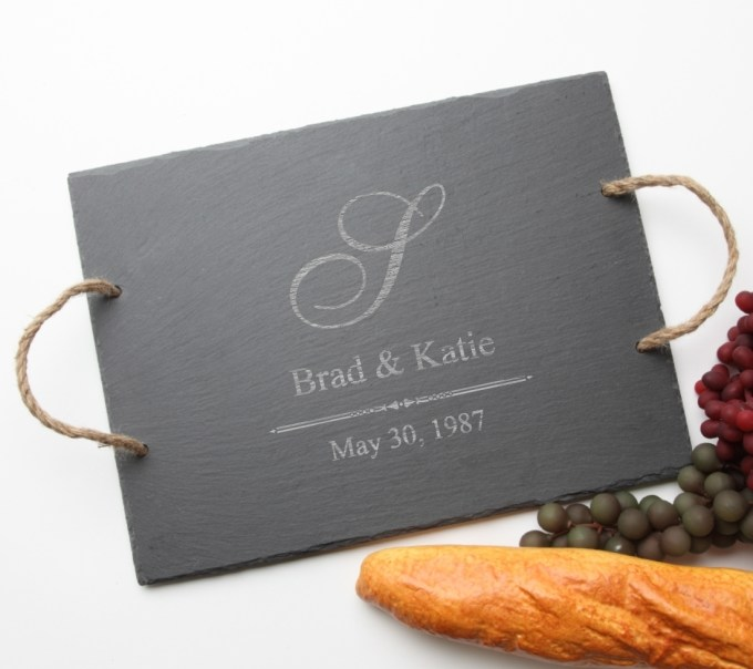 Personalized Slate Serving Tray Rope 15 x 12 DESIGN 11 SST-011