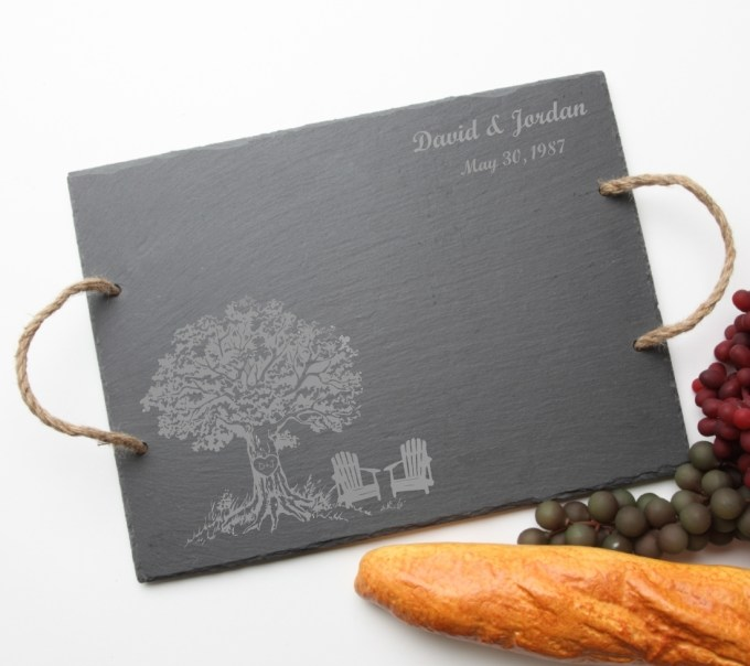 Personalized Slate Serving Tray Rope 15 x 12 DESIGN 31 SST-031