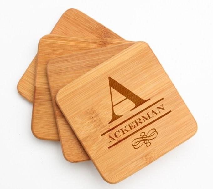 Personalized Bamboo Coasters Engraved Bamboo Coaster Set DESIGN 12 BCS-012