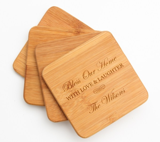 Personalized Bamboo Coasters Engraved Bamboo Coaster Set DESIGN 22 BCS-022